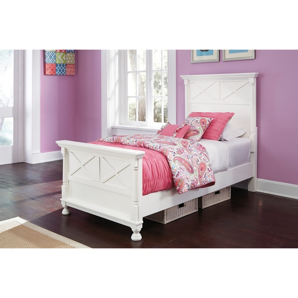 Shop Signature Design by Ashley \'Kaslyn\' White Panel Bed Set - Free ...