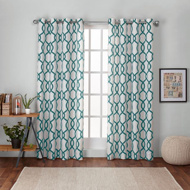 "ATI Home Kochi Linen Blend Window Grommet Top Curtain Panel Pair - 54"" w x 84"" l - Teal"