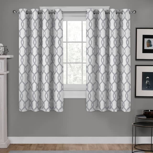 "ATI Home Kochi Linen Blend Window Grommet Top Curtain Panel Pair - 54"" w x 63"" l - Dove Grey"