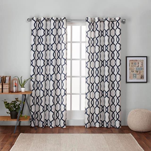 "ATI Home Kochi Linen Blend Window Grommet Top Curtain Panel Pair - 54"" w x 108"" l - Indigo"
