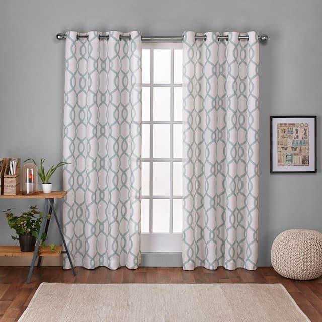 """ATI Home Kochi Linen Blend Window Grommet Top Curtain Panel Pair - 54"""" w x 84"""" l - Seafoam"""