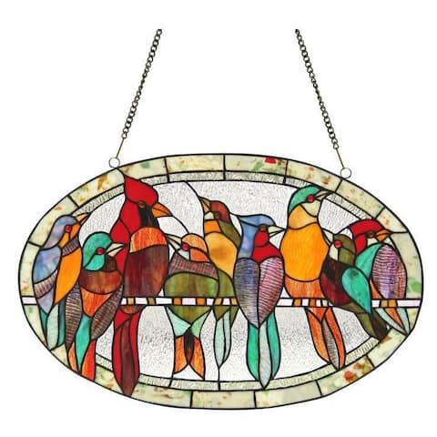 Chloe Tiffany-style Bird Design Round Window Panel