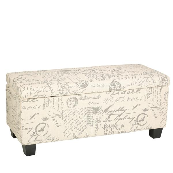 Cortesi Home Fitzgerald Script Linen Fabric Storage Long Bench Ottoman