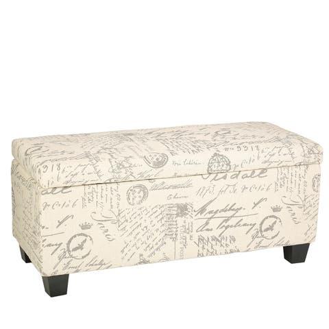 Cortesi Home Fitzgerald Script Linen Fabric Storage Long Bench Ottoman