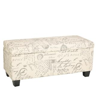 Cortesi Home Fitzgerald Script Fabric Storage Ottoman Long Bench