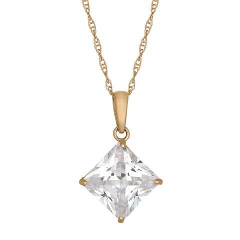 Gioelli 10k Gold 5 1/8ct TGW 8mm Square Cubic Zirconia Necklace