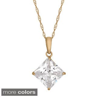 Gioelli 10k Gold 5 1/8ct TGW 8mm Square Cubic Zirconia Necklace|https://ak1.ostkcdn.com/images/products/9401116/P16589529.jpg?impolicy=medium
