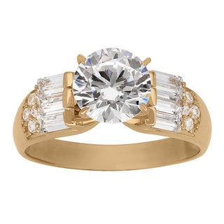 Gioelli 10k Yellow Gold 8mm Round with Baguette Cubic Zirconia Side Stone Ring