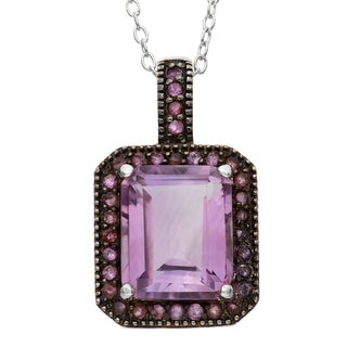 Gioelli Sterling Silver Black Rhodium Emerald-cut Amethyst Pendant Necklace