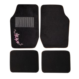 Adeco Hawaiian Floral 4-piece Vehicle Floor Mats