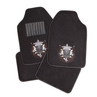 Adeco Black Skull Detail 4-piece Vehicle Floor Mats
