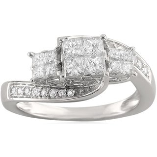 Brides Across America by Montebello 14k White Gold 3/4ct TDW Princess-cut Bypass Diamond Ring (H-I, I1)