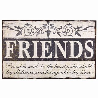 Adeco 'Friends' Vintage Wall Plaque - 13.8 x 8.7