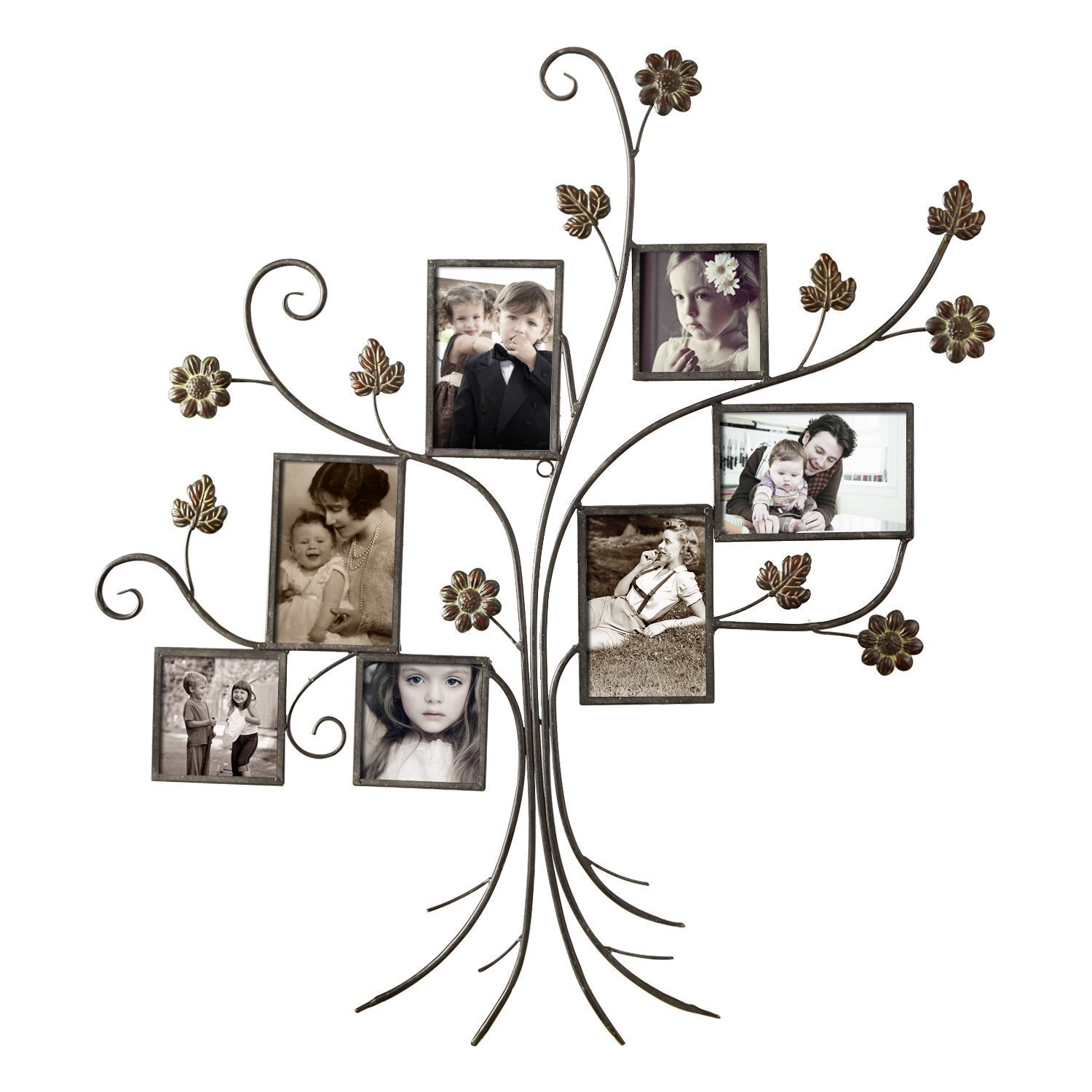 Adeco 7-opening Iron Collage Wall-hanging Photo Frame (Br...