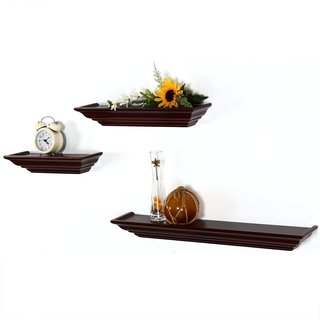 Adeco 3-pieces Walnut Wood Wall Display Shelves