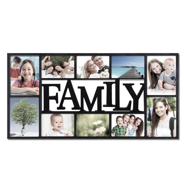 adeco family 10 opening black plastic wall hanging collage photo frame