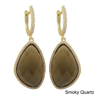Gold over Sterling Silver Semi-precious Stones with Cubic Zirconia Dangling Earrings (Option: Smoky Quartz)