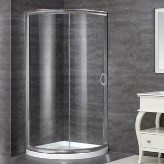 Aston 36-in x 36-in Semi-Frameless Round Bypass Shower Enclosure in Stainless Steel with Base