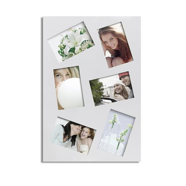 Adeco Decorative White Rectangular Wall Hanging Slanted Collage Photo Frame with Six 4x6-inch Openings