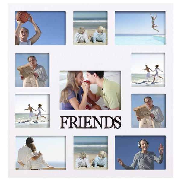 Shop Adeco \'Friends\' White Wooden 11-openings Collage Photo Frame ...