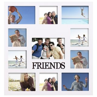 Adeco 'Friends' White Wooden 11-openings Collage Photo Frame