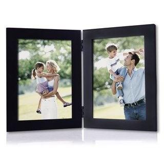 Adeco Black Wood Folding 2-picture Frame