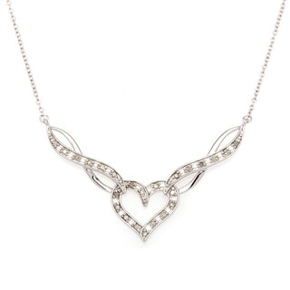 Sterling Silver 1/4ct TDW Diamond Heart Necklace (J-K, I2-I3)