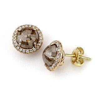 Diamonds For A Cure 18k Rose Gold 3 1/10ct TDW Grey and White Diamond Stud Earrings (H-I, SI1-SI2)