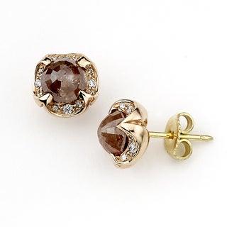 Neda Behnam 18k Rose Gold Fancy 2 1/2ct TDW Pink and White Diamond Stud Earrings