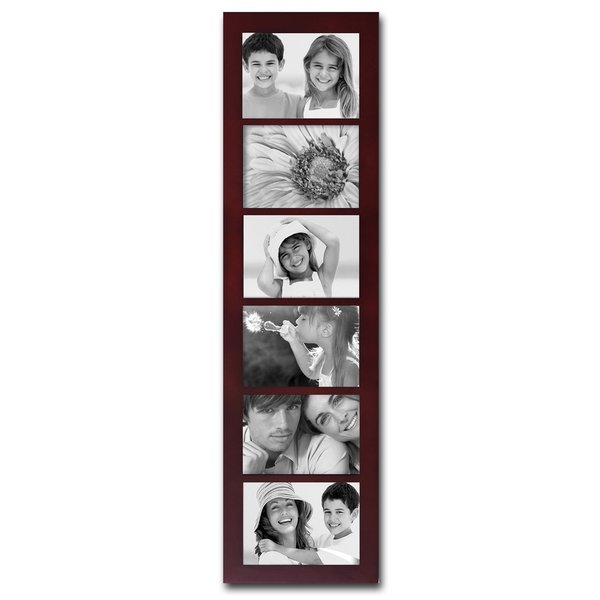 Adeco Walnut Wood 6 Opening Collage Picture Frame Free