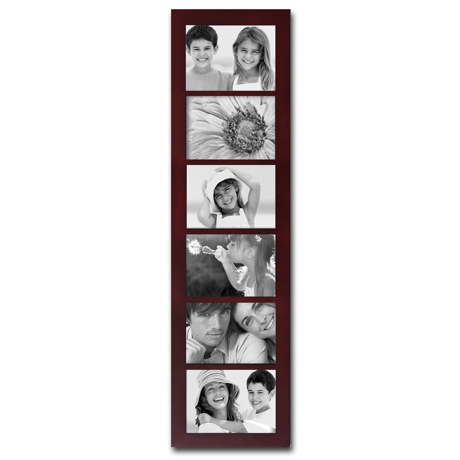 Adeco Walnut Wood 6-opening Collage Picture Frame (Walnut...
