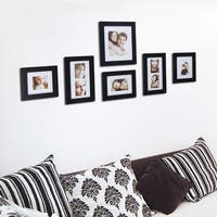 Adeco Decorative Black Wood 7-piece Wall Hanging Photo Frame Set with Mat