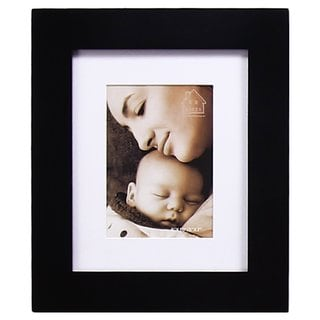 Adeco Black Matted Wood Hanging 5x7 Photo Frame