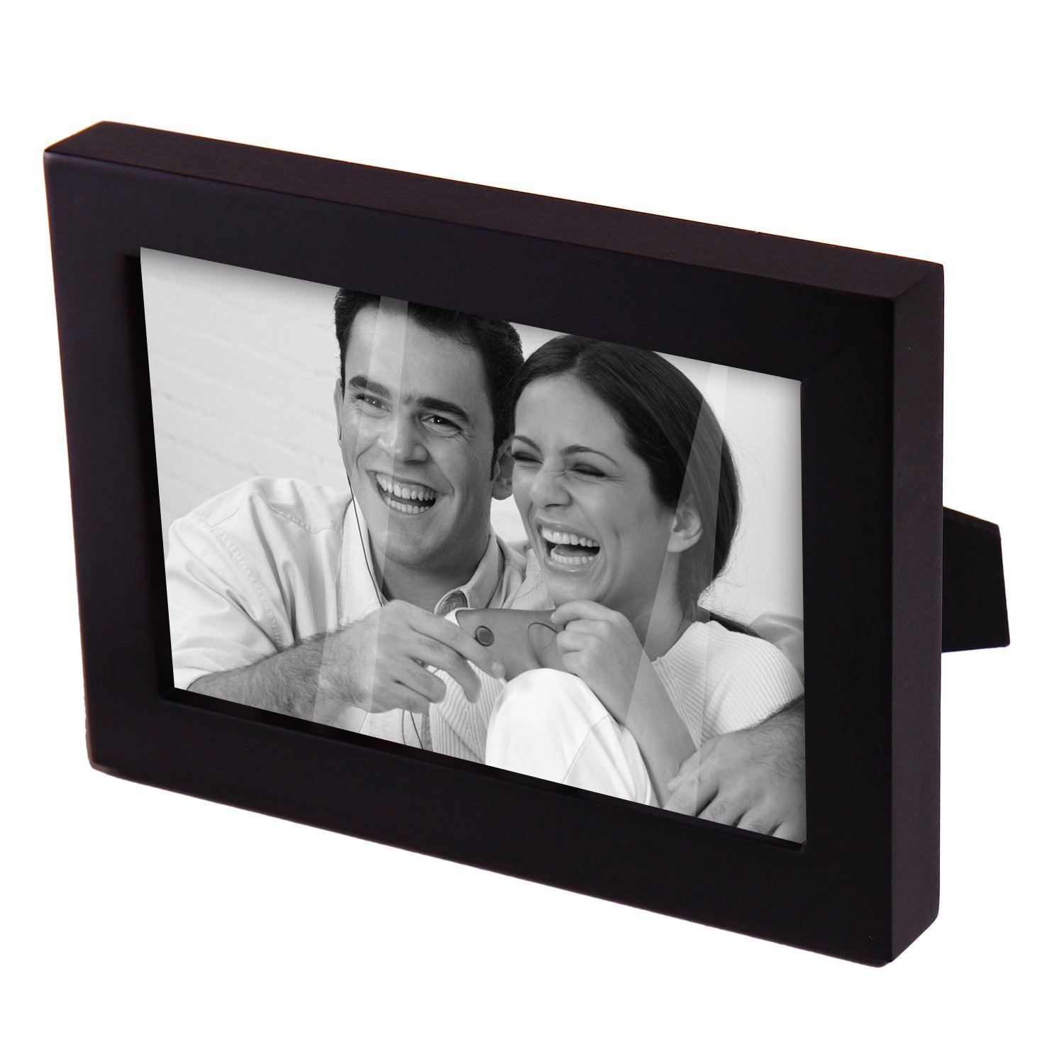 Adeco 4 x 6-inch Decorative Black Wood Photo Frame with O...