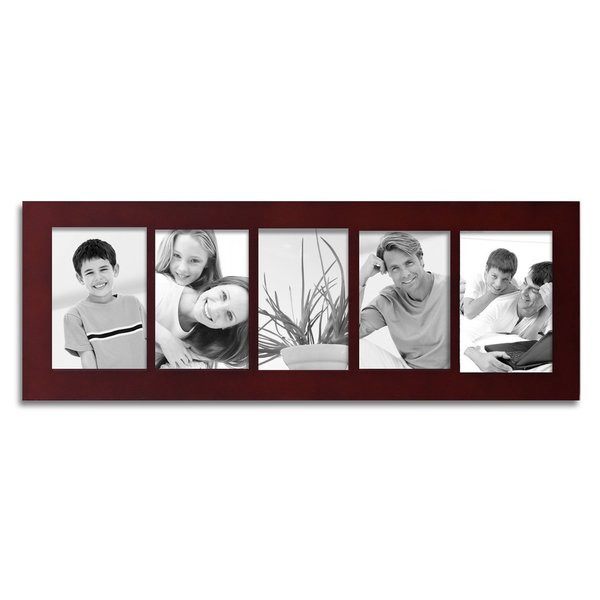 Shop Adeco 5 Divided Decorative Walnut Color Wood Wall Hanging Photo