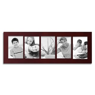 Adeco 5 Divided Decorative Walnut Color Wood Wall Hanging Photo Frame with Five 4 x 6-inch Openings