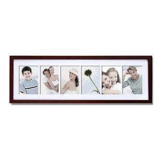 Adeco 6-opening Walnut Matted Wall Hanging Collage Photo Frame