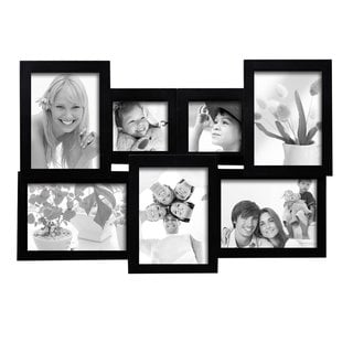 adeco 7 opening black wooden wall hanging collage photo picture frame