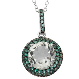 Gioelli Sterling Silver Black Rhodium Round Green Amethyst Quartz Pendant Necklace
