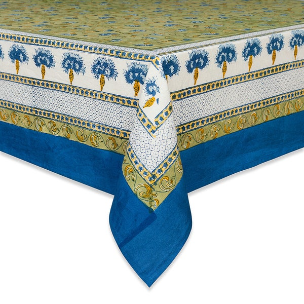 Couleur Nature Blue/ Green Square Tablecloth