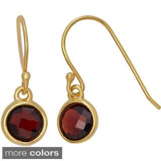 Gioelli Gold Plated Sterling Silver 6mm Checkerboard Gemstone Dangle Earrings