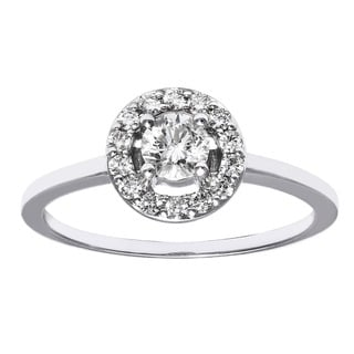 Beverly Hills Charm 14k Gold 1/2ct TDW Diamond Round Halo Engagement Ring