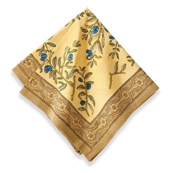 Couleur Nature 19-inch Gold/ Blue Olive Tree Napkins (Set of 6)