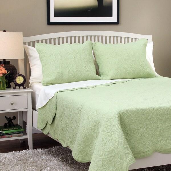 Blantyre Scalloped Edge Cotton 3-piece Quilt Set