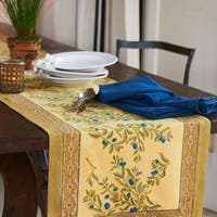 Couleur Nature Olive Tree Gold/ BlueTable Runner