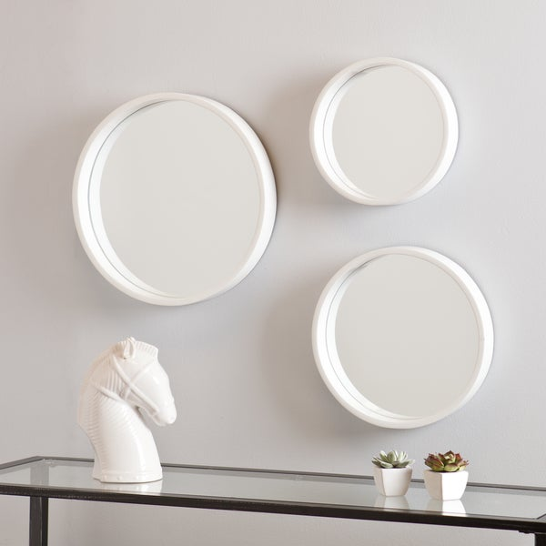 shop holly and martin daws white wall mirror 3pc set free shipping on orders over 45. Black Bedroom Furniture Sets. Home Design Ideas