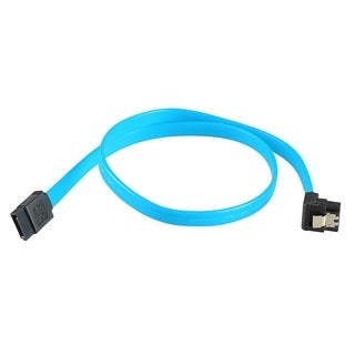 INSTEN 1.5-foot Blue SATA III Data Straight 180 to 90 Degree Right Angle Cable