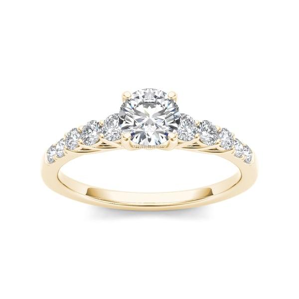 De Couer 14k Yellow Gold 1ct TDW Diamond Engagement Ring