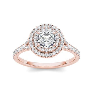 De Couer 14k Rose Gold 1ct TDW Double Diamond Halo Engagement Ring (H-I, I2)