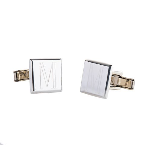 Handmade .925 Sterling Silver Monogrammed Square Cuff Links (Mexico)